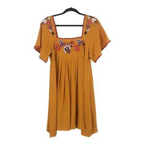 Madewell Womens Size Small Embroidered Square-Neck Boho Mini Dress